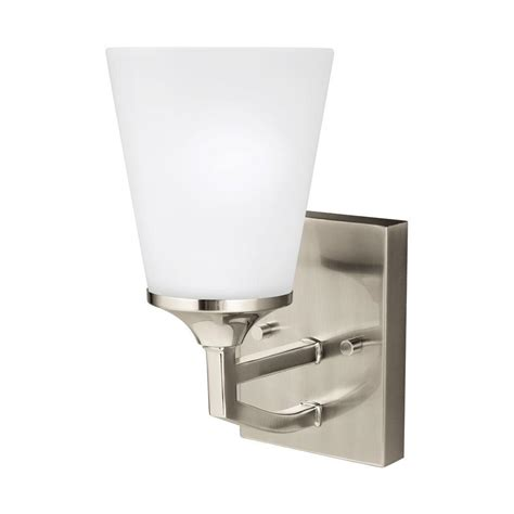 home depot wall sconces sea gull lighting hanford 1 light brushed nickel wall
