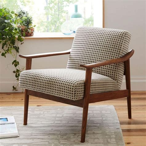 Small Upholstered Living Room Chairs by Mid Century Show Wood Upholstered Chair Reupholstered