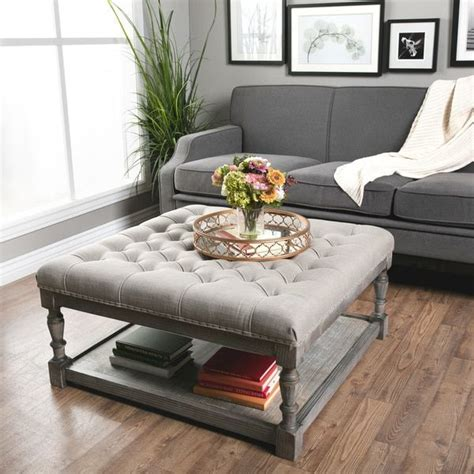 Best Deals On Ottomans by Creston Beige Linen Tufted Ottoman Overstock