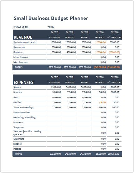 small business budget planning sheet  ms excel excel
