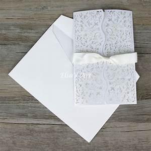 wave style 30pcs lot elegant white hollow flowers wedding With wedding invitation cards blank inside