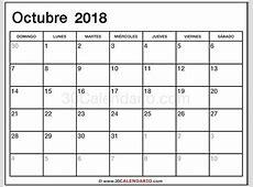 Blanco Calendario Octubre 2018 Con Feriados Y Feriados
