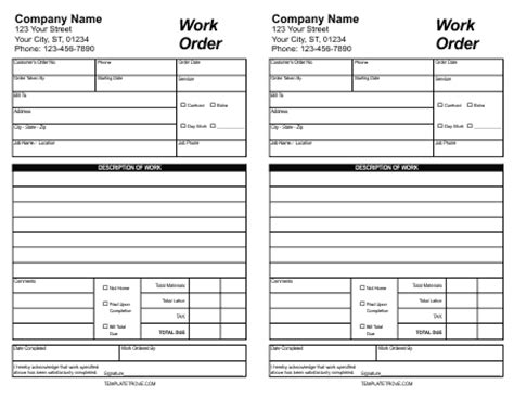 order sheet template 30 work order template free word excel pdf