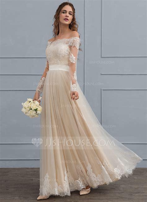 shoulder floor length tulle lace wedding