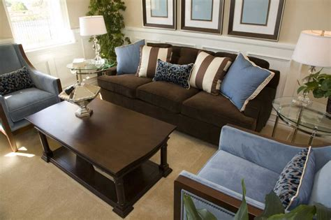 Brown And Blue Living Room Decor With Dark Brown Sofa