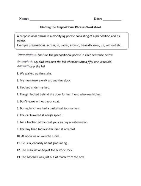 prepositional phrases worksheets finding prepositional