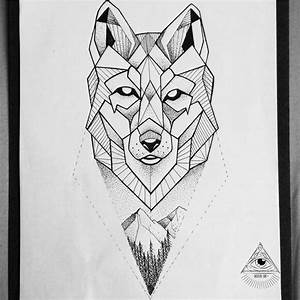 Terrific Mountains And Geometric Wolf Tattoos Of Face ...