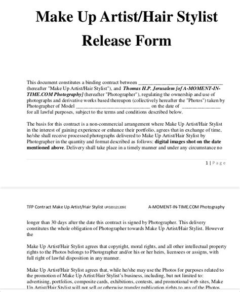 makeup artist contract form 9 sle artist release forms sle templates