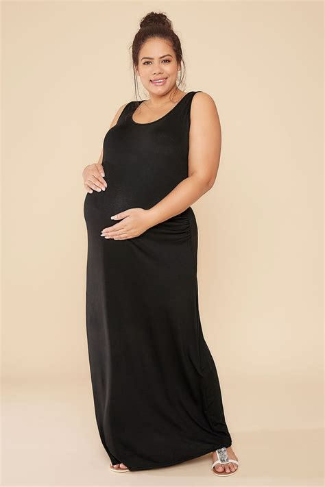 Bump It Up Maternity Black Maxi Dress With Ruched Side, Plus Size 16 To 32