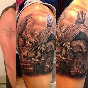 the best detailed tattoo of good vs evil | Sleeve tattoos ...