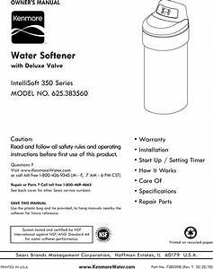 Kenmore 625383560 User Manual Water Softener Manuals And