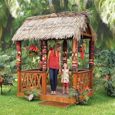 tropical tiki huts the tropical tiki hut hammacher schlemmer