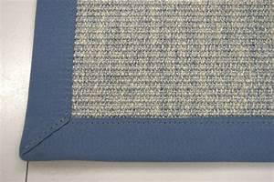 sisal teppich bordurenteppich 100 sisal naturfaser blau With balkon teppich mit tapete beige blau