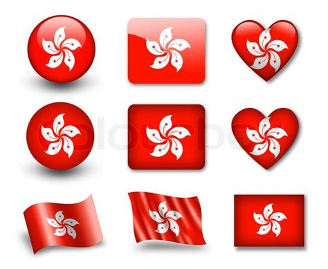 Set Of Icons And Flags Glossy And