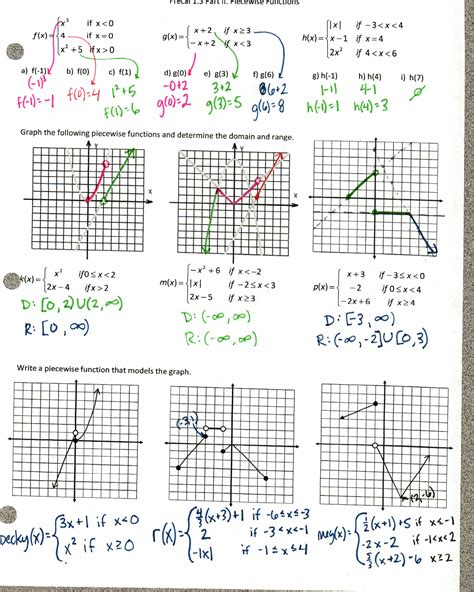 Worksheet Piecewise Functions Answers Worksheets For All  Download And Share Worksheets Free
