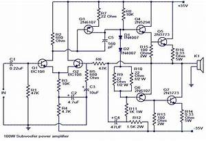 100 Watts Subwoofer Amplifier Circuit Diagram