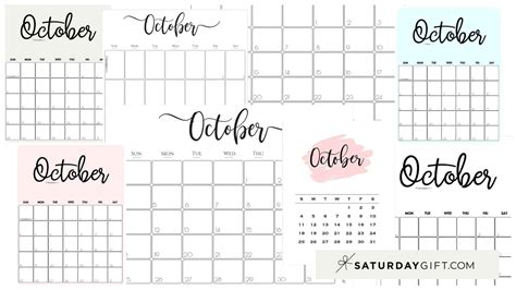 cute  printable october  calendar saturdaygift