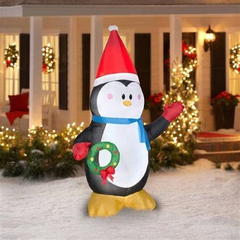 7 Ft Christmas Inflatable Penguin W Wreath And Santa Ht
