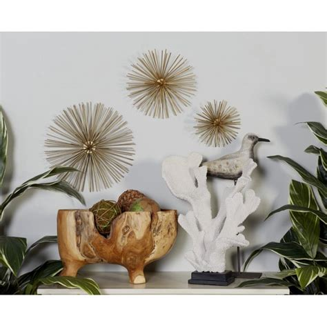 """Abstract and geometric pieces included: Decmode - Metallic Gold Starburst Orbs Metal Wall Décor, Set of 3: 12"""", 9"""", 6"""" - Walmart.com ..."""