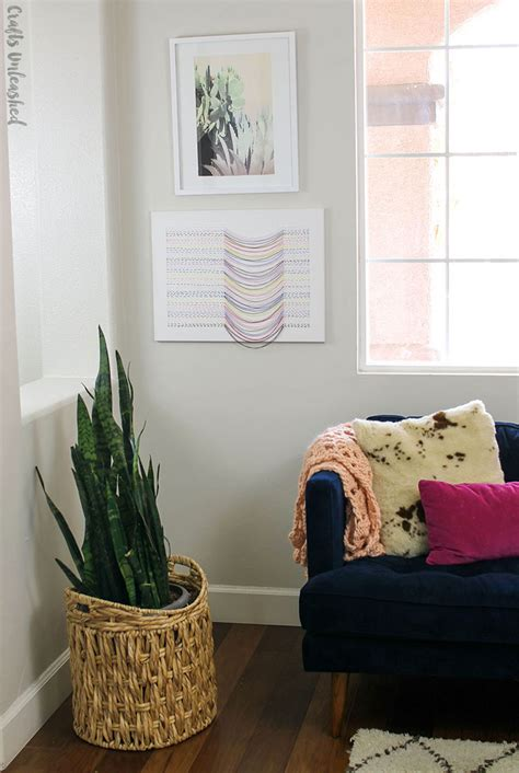 diy canvas wall art  embroidered thread design