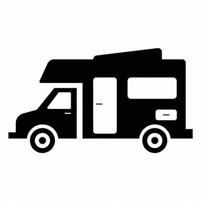 Camper Icon Vehicle Recreational Silhouette Flat Svg