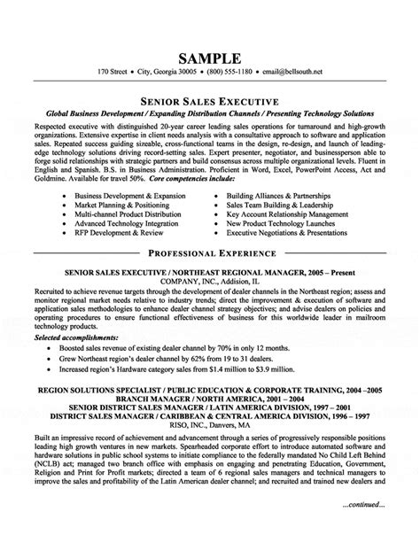 senior sales executive resume