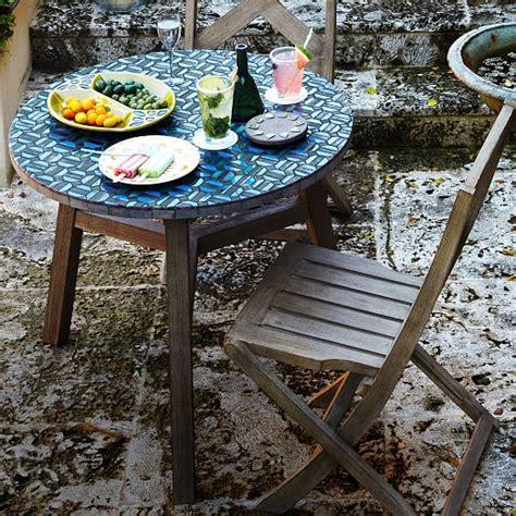 mosaic tiled bistro table indigo hex top driftwood
