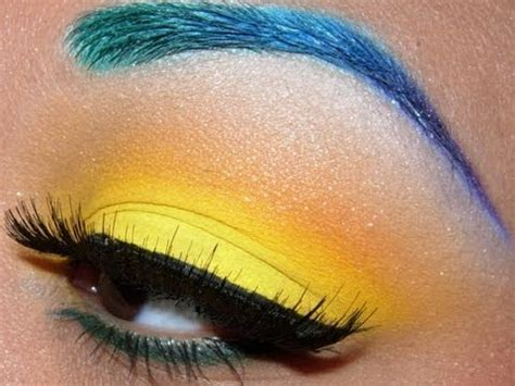 colorful brows  bright yellow eyeshadow tutorial