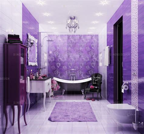 bathroom vibrant purple colour   bathroom