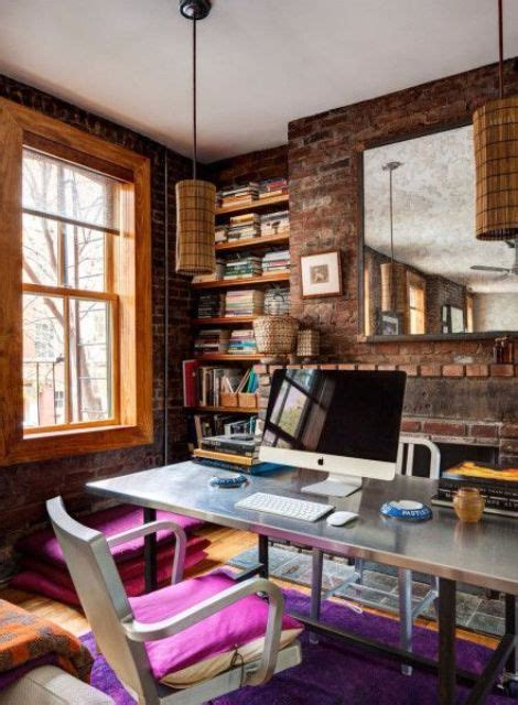 It's too easy to skip decor altogether if your office is little more than a closet, but even closets have wall space. 34 Home Office Designs With Exposed Brick Walls - DigsDigs