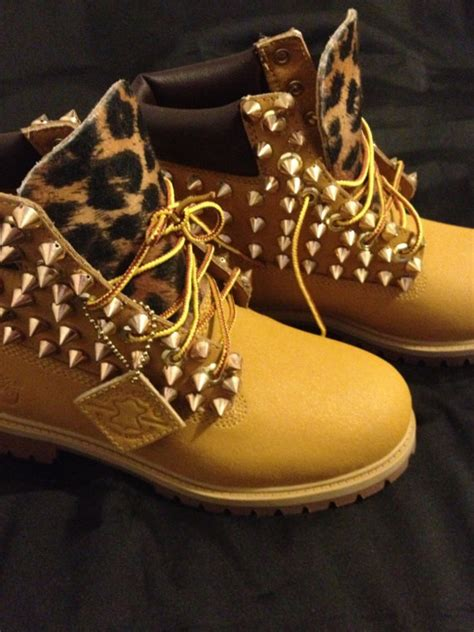 designer timberland boots custom designed spiked timberland boots by yvettecavalli
