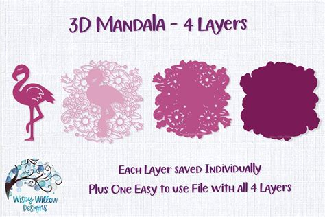 Files cannot be resold, modify or used commercially without the commercial use. 3D Layered Design | Flamingo Mandala SVG (542039) | Cut ...