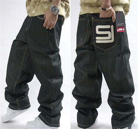 Menu0026#39;s Black Baggy Jeans Hip Hop Designer Brand Skateboard Pants loose Style Plus Size 30 44 True ...