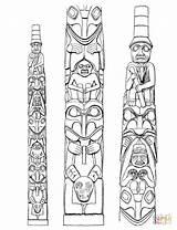 Totem Coloring Poles Pole Native Pages American Printable Tattoo Horse Tiki Dala Swedish Drawing Templates Haida Supercoloring Meanings Tlingit Totum sketch template