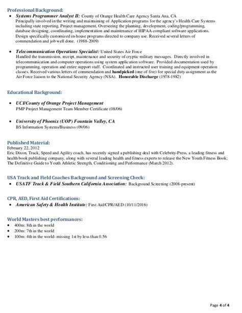 Track Coach Resume by Track Coach Resume 28 Images Assistant Coach Resume