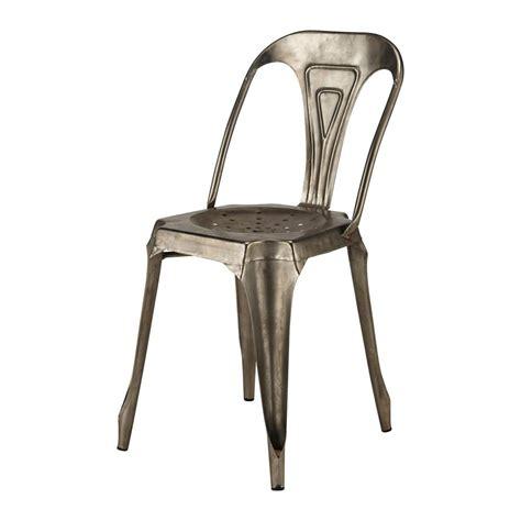 chaise en métal chaise indus en métal grise multipl 39 s maisons du monde