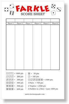 farkle score sheets   printable farkle score