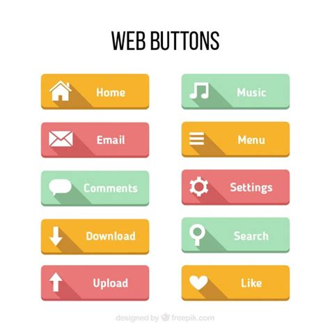 Colors Buttons For Web In A Flat Design Vector Premium