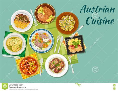 cuisine autrichienne icône plate de cuisine autrichienne avec des plats de