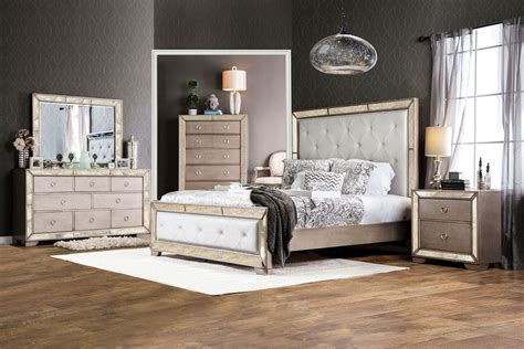 Silver Bedroom Furniture by Loraine Silver Upholstered Panel Bedroom Set From