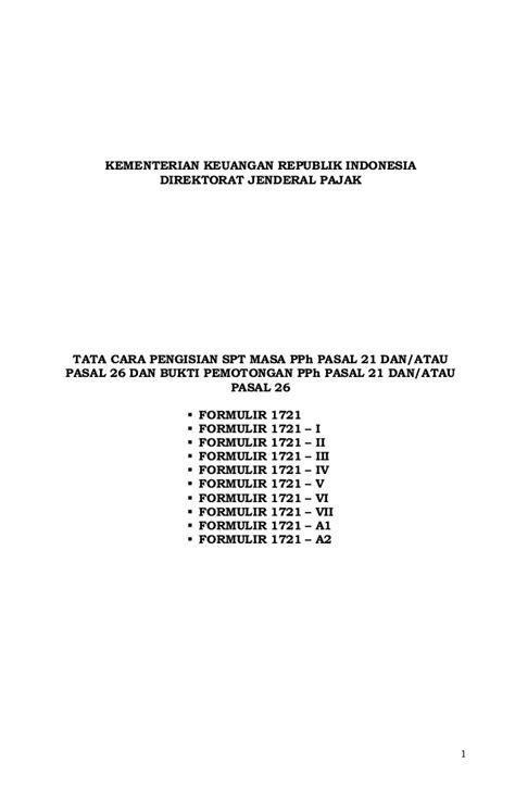 Formulir SPT Masa PPh 21 Sejak Januari 2014 (PER_14_PJ_2013)