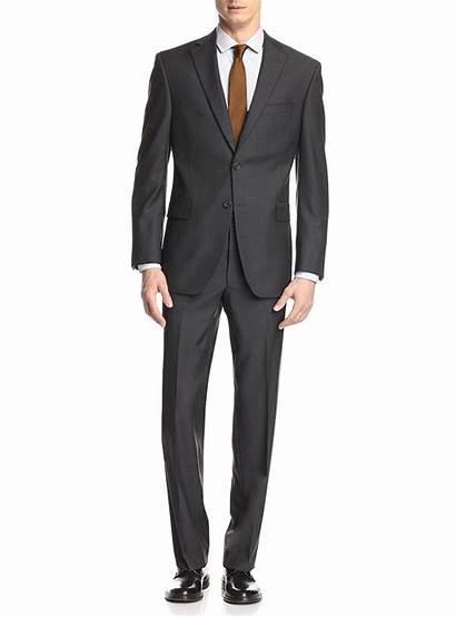 Suit Modern Mens Classic Suits Button Charcoal