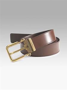 Ferragamo Leather Dress Belt in Brown for Men