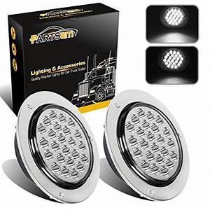 Partsam 2pcs 4 U0026quot  Round White 24 Led Truck Trailer Light Reverse Backup Running Light   Chrome