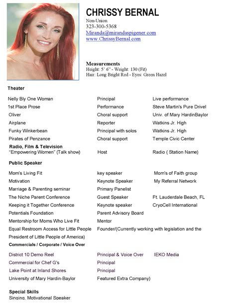runway model resume sle