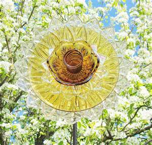 flower garden glass yard stake outdoor decor upcycled