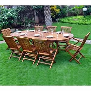 Salon Jardin Teck : ensemble en teck de jardin bois huil 8 10 places ~ Melissatoandfro.com Idées de Décoration