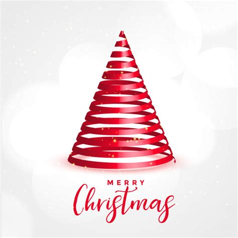 This christmas tree with star template comes in 6 different file formats so that you can use the files for all your needs: Red 3d ribbon tree for merry christmas festival Vector ...