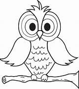 Owl Coloring Cartoon Printable sketch template