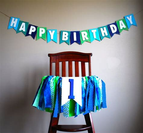 high chair tutu birthday rag tie fabric bunting banner